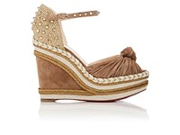 Christian Louboutin Women's Madcarina Wedge Espadrille Sandals Beige Gold
