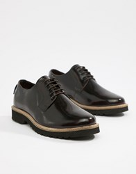 Ben Sherman High Shine Lace Up Chunky Shoes In Oxblood Red