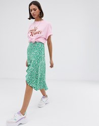 Bershka Ditsy Floral Asymmetric Skirt In Green Green