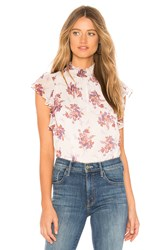 1.State Wildflower Flutter Sleeve Top White