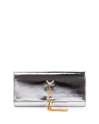 Saint Laurent Monogram Metallic Tassel Clutch Bag Silver Men's