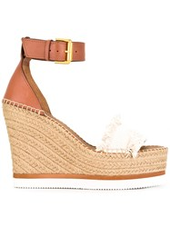 See By Chloe Espadrille Wedge Sandals Nude Neutrals