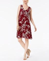 Styleandco. Style Co Petite Printed Sleeveless A Line Dress Deep Scarlet Palm Dance