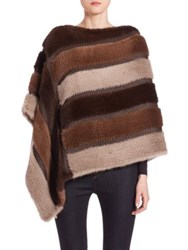 The Fur Salon Striped Knit Mink Poncho Brown Multicolor