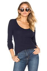 Bobi Modal Thermal V Neck Long Sleeve Top Blue