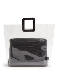 Staud Shirley Pvc And Crocodile Effect Leather Tote Black