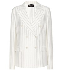 Loro Piana Striped Cotton And Linen Jacket White