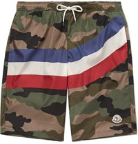 Moncler Long Length Printed Swim Shorts Army Green