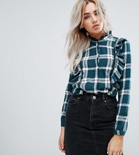 Noisy May Petite Check Shirt With Ruffle Detail Green