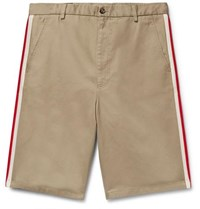 Gucci Webbing Trimmed Cotton Twill Bermuda Shorts Beige