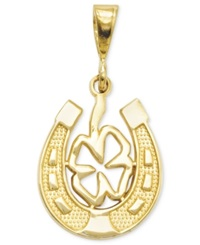 Macy's 14K Gold Charm Four Leaf Clover And Horseshoe Charm
