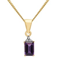 A B Davis 9Ct Gold Rectangular Semi Precious Stone And Diamond Pendant Necklace Amethyst