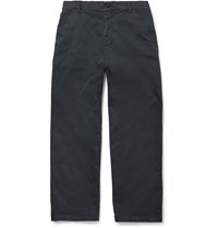 Barena Wide Leg Brushed Cotton Trousers Navy