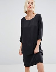 Selected Sinca Shift Dress In Sandwashed Silk Black