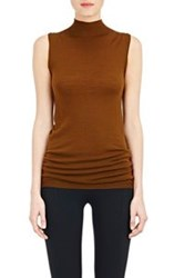 Rick Owens Sleeveless Mock Turtleneck Sweater Brown