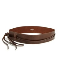 Streets Ahead Low Rise Tied Leather Belt Dark Brown