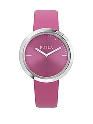 Furla Valentina Stainless Steel Leather Strap Watch Pink