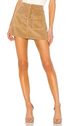 Nsf Penelope Patch Pocket Mini Skirt In Brown. Pigment Copper