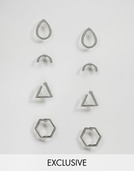 Monki Exclusive Shape Multipack Earring Silver