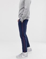 Tom Tailor Tapered Joggers In Side Piping In Blue
