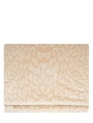 Roberto Cavalli Monogram Cotton Velvet Throw Beige
