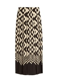 Gucci Geometric Print Pleated Silk Midi Skirt Black White