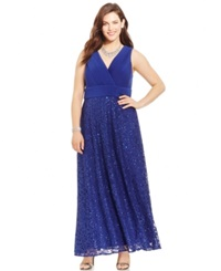 Patra Plus Size Sequined Lace Gown Royal