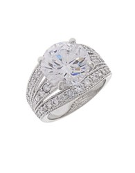 Michela Pave Accented Solitaire Ring Silver