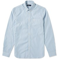 Fred Perry Vertical Stripe Button Down Oxford Shirt Blue