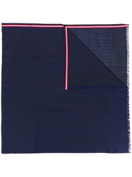 Bally Contrast Striped Scarf Blue