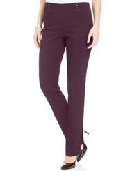 Jm Collection Studded Pull On Pants Maroon Dahila