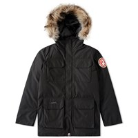 A Bathing Ape Fur Hooded Jacket Black