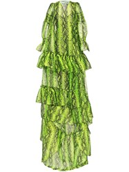 Off White Snake Print Tiered Gown Green