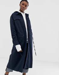 Weekday Pocket Detail Long Coat In Navy