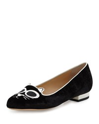 Grunge Kitty Velvet Loafer Black Charlotte Olympia