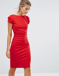 Closet London Pencil Dress With Ruched Cap Sleeve Red