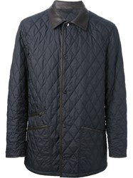 Salvatore Ferragamo Quilted Jacket Men Leather Polyester 50 Blue