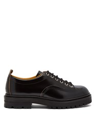 Marni Raised Sole Leather Derby Shoes Black
