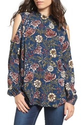 Angie Women's Floral Print Cold Shoulder Top