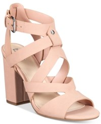 Bar Iii Mae City Block Heel Sandals Only At Macy's Women's Shoes Blush