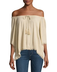 Philosophy Drawstring Neck Lace Trim Top Camel
