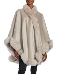Sofia Cashmere And Fox Fur Cape Stone