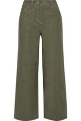 Iris And Ink Woman Sapphire Cotton Blend Twill Wide Leg Pants Army Green