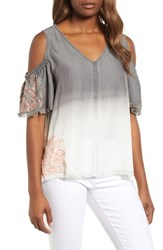 Billy T Dip Dye Embroidered Cold Shoulder Blouse Grey White Embroider