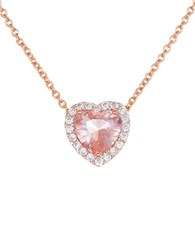 Lord And Taylor Morganite Sterling Silver Heart Pendant Necklace Rose Gold