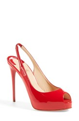 Women's Christian Louboutin 'Private Number' Peep Toe Slingback Pump 4 3 4' Heel