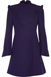 Fendi Ruffled Wool And Silk Blend Mini Dress Dark Purple
