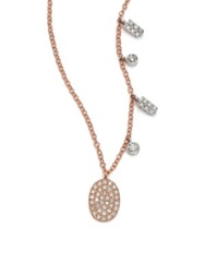 Meira T Diamond And 14K Rose Gold Oval Pendant Necklace