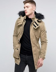 Native Youth Parka With Faux Fur Hood Tan