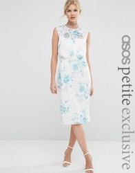 Asos Petite Salon Crop Top Lace Pencil Dress With Blue Floral Print Multi White